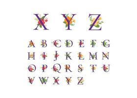 alfabet blommiga element