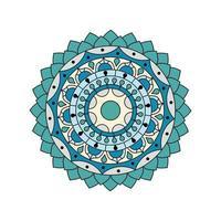 blommig blå grön färgad mandala vektor