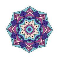 linjär lila blå färgad mandala vektor
