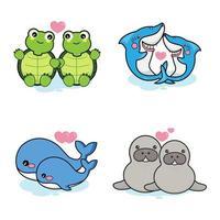 Satz niedliche Tiere für Valentinstagfeier