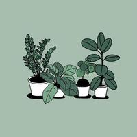 handritade hus krukväxter design vektor