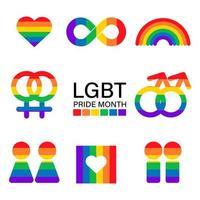 lgbtq och pride månad ikonuppsättning