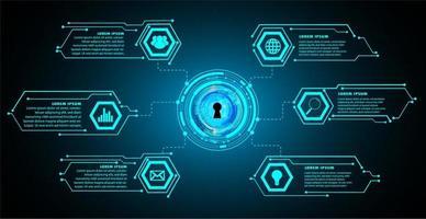 geschlossenes Vorhängeschloss auf digitalem Hintergrund, Cybersicherheit vektor