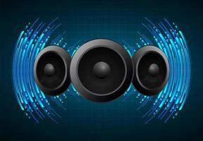 ljudvågor som svänger i mörkblått ljus vektor