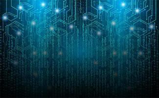 Blue Cyber Circuit Zukunftstechnologie Hintergrund vektor