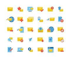 E-Mail und Mail Flat Icon Set vektor