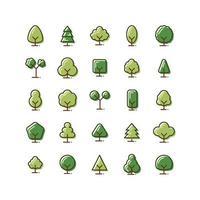 Baum gefüllt Gliederung Icon Set vektor