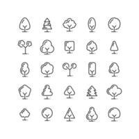 Baumkontur-Symbolsatz vektor
