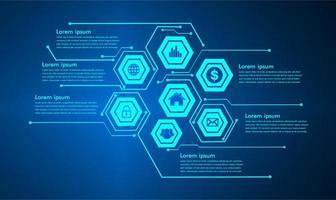 textruta infographic, internet av saker cyberteknologi vektor
