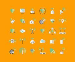 Flat Icon Set für drahtlose Netzwerke