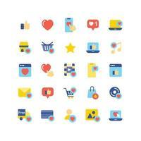 sociala nätverk som platt ikonuppsättning vektor