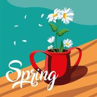 Frühlingsgrußkarte mit schönen Blumen im Topf vektor