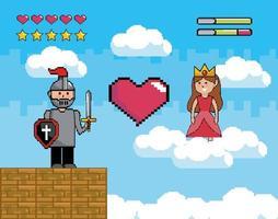 videospelplats med krigare och prinsessa