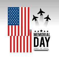 usa flagga med flygplan för minnesdagen vektor