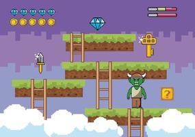 Videospiel-Action-Szene mit Dämon und Symbolen vektor