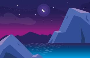 Nattlandskap med sjön scen ikon vektor