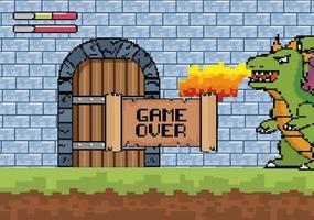 Spiel über Videospielszene mit Drachen vektor