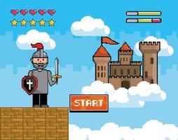 videospelplats med krigare och slott