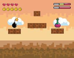 Videospielszene mit Trank und Bombe vektor