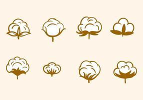 Freie Hand gezeichnete Baumwollblumenvektor vektor