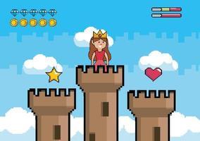 videospelplats med prinsessa ovanpå ett torn
