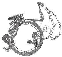 Tattoo Kunst Drachen Handzeichnung vektor