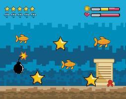 Videospiel Unterwasserszene vektor