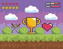 Videospielszene mit Goldbecher, Schwertern und Herz vektor