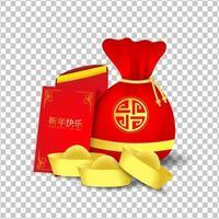 röd väska och rött paket för kinesiskt nyår