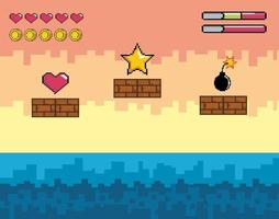 videospelplats med guldstjärna, hjärta och bomb