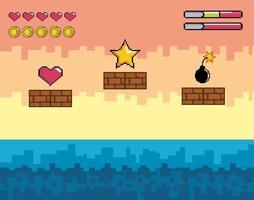 Videospielszene mit goldenem Stern, Herz und Bombe vektor