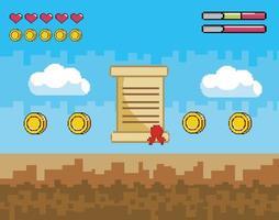 Videospiel-Level abgeschlossene Szene mit Buchstaben und Münzen vektor