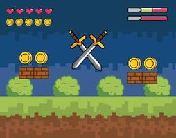 Videospielszene mit Schwertern im Pixelstil vektor
