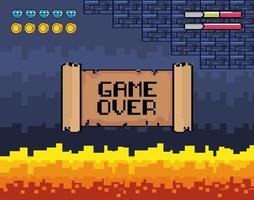 Spiel über Videospielszene mit Lava vektor
