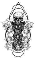 Tattoo Kunst der Fuchs Bär und Tiger vektor