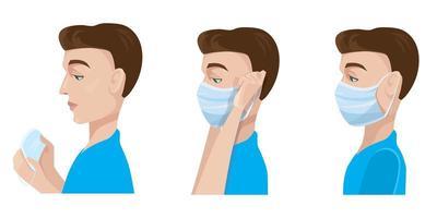 Mann setzt medizinische Maske auf.
