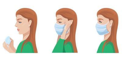 kvinna sätta på medicinsk mask. vektor
