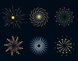 Reihe von festlichen Feuerwerk. vektor