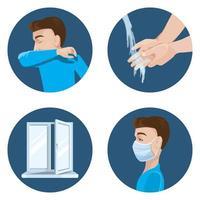 Vorsichtsmaßnahmen bei der Verbreitung des Virus. vektor