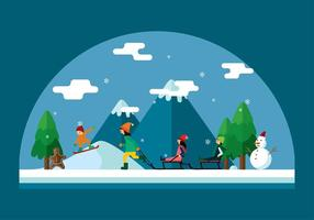 Winter Sledding Szene Vektor