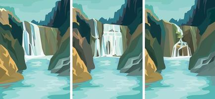 Sammlung von Wasserfalllandschaften. vektor