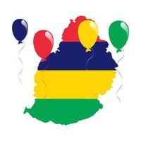 mauritius karta och flagga vektor