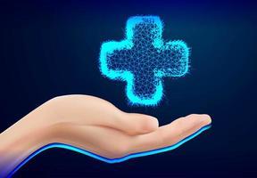 Nahaufnahme der weiblichen Holding Medical Cross Design vektor