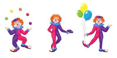 Satz Clowns in verschiedenen Posen. vektor