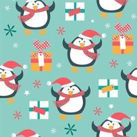 nahtloses Weihnachtsmuster mit Pinguinen und Geschenken vektor