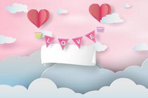 kreative Papierkunst und Handwerk des glücklichen Valentinstagskonzepts vektor