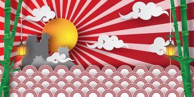 vårsäsong i japans traditionella tempel med moln och sol