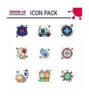Coronavirus-Farbpiktogramm-Symbolsatz