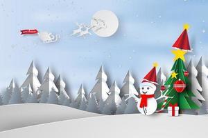 Papierkunst frohe Weihnachten mit Bäumen und Schneemannkonzept vektor