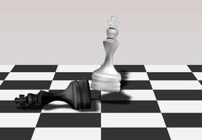 weißer Schachkönig zerlegt schwarzen Schachkönig vektor